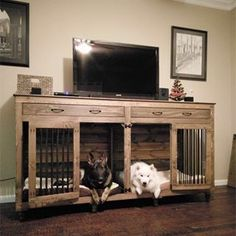 32 Rustic Indoor Dog Houses Design Ideas For Small Dogs To Have - Most people think of outdoor dog houses when they thing of a dog house. However, there are also indoor dog houses. Which are perfect if you want to ke. Wooden Dog Crate, Diy Dog Crate, Dog Crate Cover, Decorative Dog Crates, Dog Crate End Table, Dog Crate Furniture, Wooden Furniture, Furniture Dog Kennel, Furniture Decor