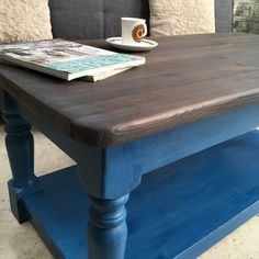 Coffee table, shabby chic blue with a shou sugi ban blue grey top. Refurbished Kitchen Tables, Refurbished Furniture, Upcycled Furniture, Furniture Ideas, Blue Coffee Tables, Painted Coffee Tables, Decorating Coffee Tables, Shabby Chic Coffee Table, Shabby Chic Decor
