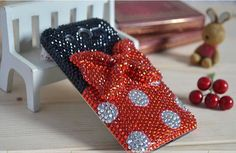 Phone case cover for Apple iphone 4/4s iphone 5. iphone 3, samsung galaxy s4 i9500, galaxy s3 i9300Charms Rhinestone Lovely Red Bowknot