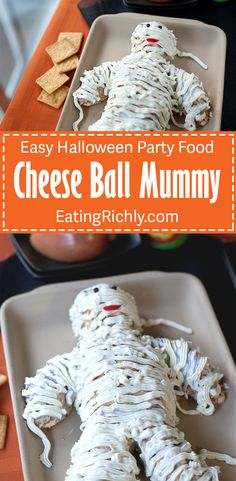 This cute cheese ball mummy is surprisingly easy to make and the perfect savory treat for your Halloween party. From EatingRichly.com