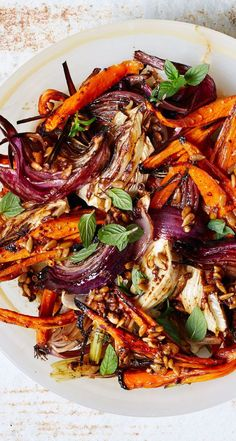 Roasted carrots with fennel and mint recipe