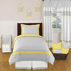 Sweet Jojo Designs Zig Zag Chevron Bedding Set - Yellow/Gray  - DIY with coordinating base fabric and different accent colour
