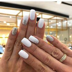 nail art designs for winter * nail art designs . nail art designs for spring . nail art designs for winter . nail art designs with glitter . nail art designs with rhinestones Cute Nail Art Designs, White Nail Designs, Prom Nails, Fun Nails, Homecoming Nails, White Nail Art, White Nails With Glitter, White Short Nails, White Shellac Nails