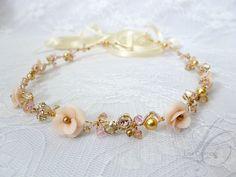 Gold Bridal Headband Swarovski Crystal Bridal by LysaCreation