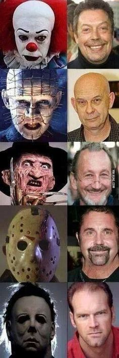 Faces of horror- Not so scary without make up, huh?