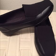1 Pair black Gael Castor Clarks® - only worn once! The Gael Castor is part of the Clarks® Collection.  PRODUCT INFORMATION: Shine bright in sophisticated wear with the Gael Castor slip-on by Clarks. Leather and fabric upper. Easy slip-on with goring for a comfortable fit. Soft synthetic lining. Cushioned Ortholite® footbed. Durable TPR outsole. Imported. Measurements: Heel Height: 1 1⁄4 in Weight: 13 oz Clarks Shoes Flats & Loafers
