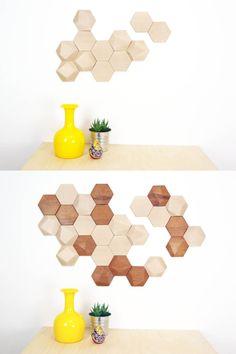 Bee Apis set de 12 módulos facetados de madera por MonoculoShop