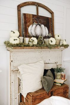 With all the craziness of the store and planning the market lately I've needed little distractions to keep my mind off of everything in my free time. I started fall decor super early because I lack self control Fall Home Decor, Autumn Home, Autumn Fall, Rustic Decor, Farmhouse Decor, Vintage Decor, Modern Farmhouse, Faux Fireplace, Fireplaces