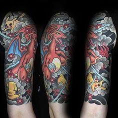 Charizard Tattoo, Pokemon Tattoo, Cool Pokemon, Body Tattoos, Tattoos For Guys, Cool Designs, Mens Fashion, Ink, Photo And Video