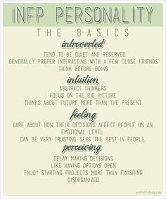 The basics of the INFP personality, one of sixteen types according to MBTI. http://www.enchantology.com/2013/02/infp-writers.html