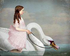 Ride a White Swan. New digital artwork by Catrin Welz-Stein.
