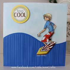 surfer card - made with part of the all occasion embossing folder aka 'that… Homemade Birthday Cards, Birthday Cards For Boys, Masculine Birthday Cards, Teen Birthday, Masculine Cards, Homemade Cards, Boy Cards, Kids Cards, Cuttlebug Embossing Folders