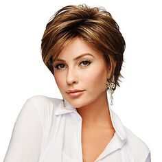 Gabor Essentials Hope Mid-Length Heat-Friendly Wig - 9092446 | Pixie Cut Round Face, Pixie Haircut For Round Faces, Haircut For Older Women, Short Hairstyles For Women, Bobby Pin Hairstyles, Bob Hairstyles, Short Cropped Hairstyles, Short Haircut Thick Hair, Longer Pixie Haircut