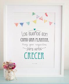 """Lámina """"Los sueños son como una plantita"""" / Boho Deco Shop"""