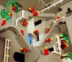 M.C. Escher's Relativity, made out of legos.