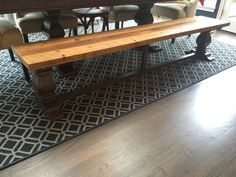 dining table bench, pedestal leg base, reclaimed heart pine bench top