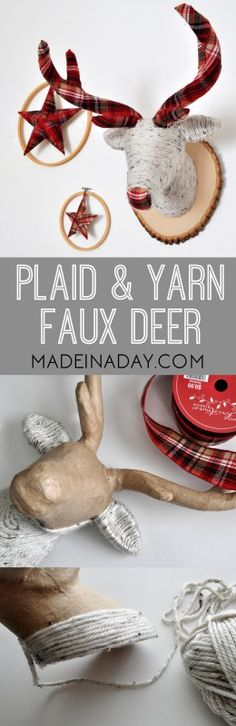 DIY Plaid Antler Yarn Wrapped Faux Deer Tutorial on madeinaday.com - great idea for Christmas decor