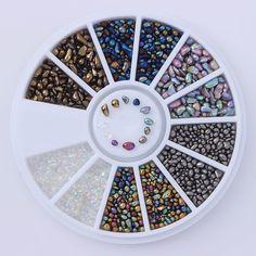 1 Boîte Mixte Couleur Strass Petit Irrégulière Perles 3D Nail Art Décoration à Roue Manucure D'ongle de DIY Décoration