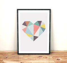 Modern wall art Minimalist art Geometric print by PixiePosters Modern Wall Art, Diy Wall Art, Heart Quilt Pattern, Modern Holiday Decor, Mini Canvas Art, Nordic Design, Design Design, Abstract Shapes, Love Painting