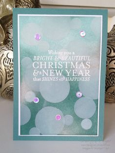 Bokeh card taught at the Great Welly Paper Caper by Paula Dobson… Thanksgiving Greeting Cards, Making Greeting Cards, Xmas Cards, Greeting Cards Handmade, Holiday Cards, Paper Cards, Diy Cards, Noel Christmas, Christmas Crafts