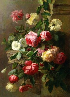 """art-and-things-of-beauty: """" Henriette de Longchamp - Still life with roses, oil on canvas, 67 x cm. Flower Pictures, Art Pictures, Photos, Longchamp, Art Painting Gallery, Victorian Flowers, Fruit Art, Beauty Art, Beautiful Paintings"""