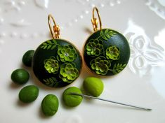 Polymer Clay Earrings Polymer Clay Jewelry by Stories made by Hands Emerald Jewelry Emerald Earrings Dangle Drop Earrings Succulent Jewelry Polymer Clay Projects, Polymer Clay Art, Polymer Clay Earrings, Fimo Clay, Polymer Clay Embroidery, Embroidery Art, Biscuit, Polymer Clay Flowers, Clay Design