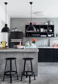 Interior Design - black shelves. love the concrete, clean, industrial look.