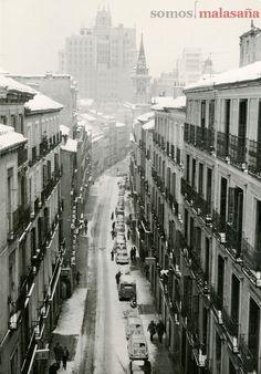 La calle Valverde nevada en 1963 | Foto: Manuel Viñuales
