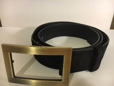 BALLY Black Suede Genuine Leather Belt GOLD Tone Buckle Made in Italy Size 85/34 #Bally