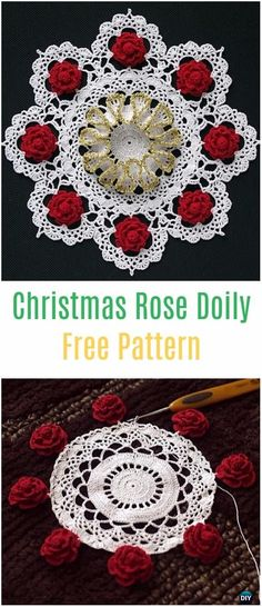 Crochet Christmas Rose Doily Free Pattern - Crochet Doily Free Patterns