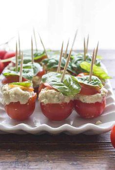 Tuna Mozzarella Stuffed Cherry Tomatoes - An Italian in my Kitchen Tomato Appetizers, Yummy Appetizers, Appetizer Recipes, Clean Eating Recipes, Clean Eating Snacks, Healthy Recipes, Healthy Meals, Healthy Food, Tuna Stuffed Tomatoes