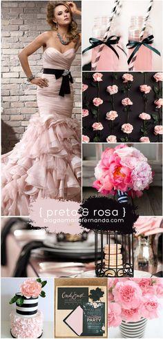 Paleta de Cores Decoração de Casamento Rosa e Preto | Inspiration Board Wedding Color Palette Pink and Black