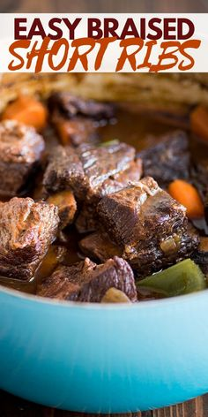 You HAVE to try these Easy Braised Short Ribs. Foolproof, fall-off-the-bone tender, and SO GOOD! Recipes Using Pork, Beef Recipes For Dinner, Recipe Using, Beef Roll Ups, Off The Bone, Braised Short Ribs, Ground Beef Casserole, Beef Tips, Incredible Recipes