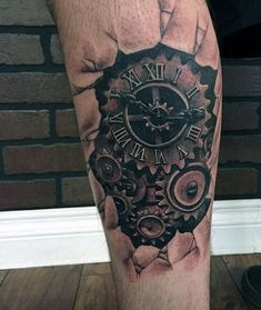 Grandfather Clock Tattoo On Leg