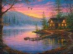 1419 best images about Thomas kinkade Landscape Art, Landscape Paintings, Oil Paintings, Thomas Kinkade Art, Kinkade Paintings, Thomas Kincaid, Image Deco, Art Thomas, Lake Painting