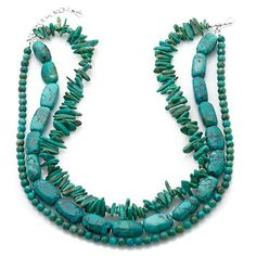Studio Barse Turquoise Chip, Nugget and Bead Necklace