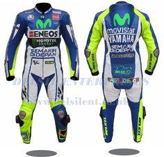 Motorcycle Movistar Yamaha MotoGP 2015 Valentino Rossi with Safety Gears Ducati Motorbike, Yamaha Motorbikes, Motorbike Jackets, Motorbike Leathers, Motorcycle Suit, Motorcycle Leather, Biker Leather, Leather Men, Leather Jacket
