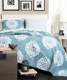 Look at this Blue Sophie Reversible Quilt Set on #zulily today!