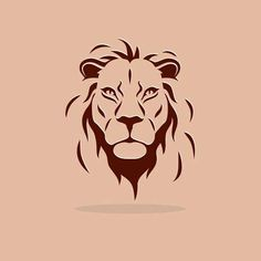 silhouette: Big stylized lion head on a orange background Illustration - Tattoo Ideas