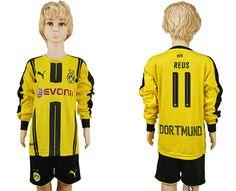 16-17 dortmund home long sleeve kid youth yellow BVB soccer jersey kids  football jerseys 46d3be2a67870