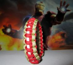 ironman paracord bracelet - Google Search Paracord Ideas, Paracord Projects, Bracelet Knots, Paracord Bracelets, Survival Straps, Awareness Ribbons, Girly Girl, Iron Man, Workouts