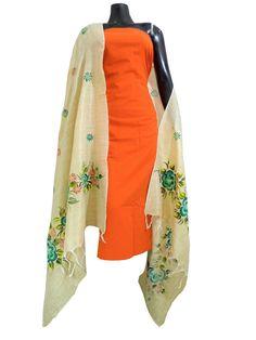Handpainted Dupatta and South Cotton Kurta- Orange Kurta