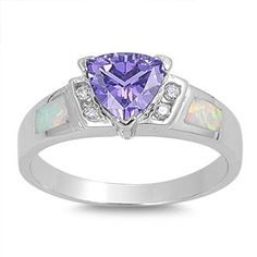 925 Sterling Silver Triangle Simulated Amethyst Cubic Zirconia 7MM White Simulated Opal Ring Size 5-9 JewelryBadger-$21.90 http://www.amazon.com
