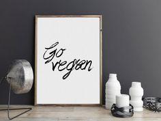 Vegan Art Raw Digital Print Printable Wall Art Typography Poster Modern Wall Print Home Decor Instant Download vegetarian gift