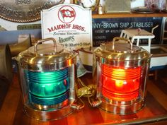 Port and starboard lanterns. Port is red (like port wine) and starboard green.