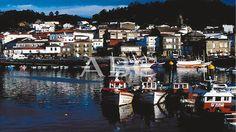 Muros (La Coruña). 2001 (CA.). Vista del puerto con el pueblo al fondo