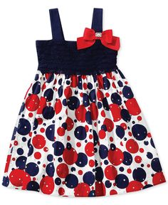 Look at this Sweet Heart Rose Red & Blue Polka Dot Bow Dress - Toddler & Girls on today! Girls Frock Design, Baby Dress Design, Baby Girl Dress Patterns, Cute Girl Outfits, Toddler Girl Dresses, Little Girl Dresses, Kids Outfits, Girls Dresses, Toddler Girls