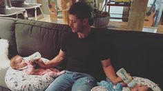 Jensen Ackles Bottle Feeds Both Twins at Once: See the Cute Pic Latest Celebrity News, Celebrity Moms, Celebrity Gossip, Dad Crafts, Dad Outfit, First Time Dad, Dad Baby, Dad Mug, Bottle Feeding