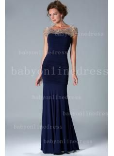 2014 Sexy Navy Blue Pleated Mermaid Mother Of The Bride Dress Chiffon Cap Sleeves Bead Gowns With Crystal