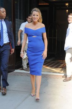 Blake Lively spotted in New York wearing a Cushnie et Ochs blue off-the-shoulder dress.